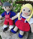 Blumenbunt: Puppen Variante mit Dirndl und Lederhose